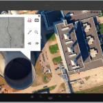 Verschillende datasets: Luchtfoto en detail foto's van betonnen constructie.